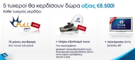 Διαγωνισμος NOVA με δωρο τηλεοραση SONY BRAVIA, συνδρομη NOVA, δορυφορικος εξοπλισμος